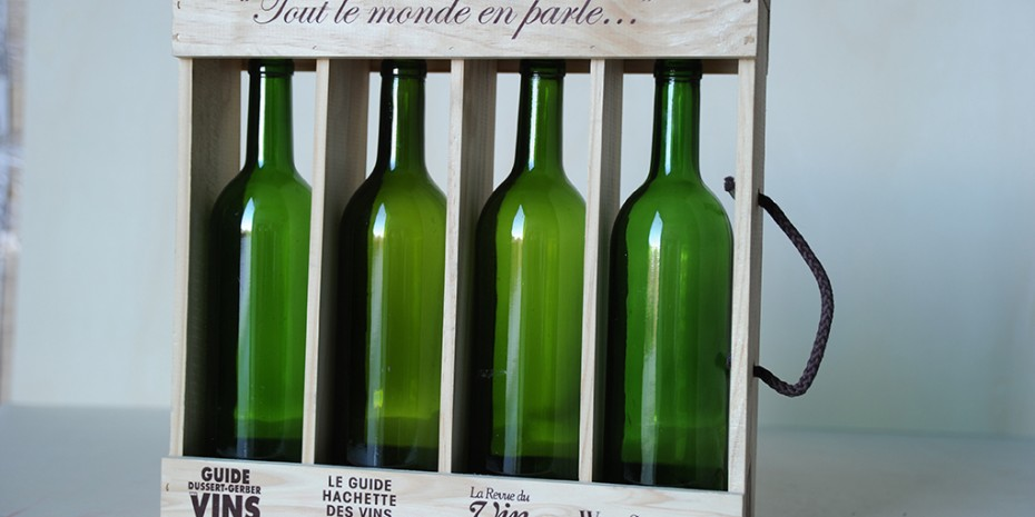 Caja 4 botellas transparente